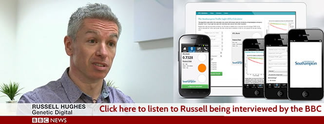 Russell Hughes of Genetic Digital being interviewed by BBC News